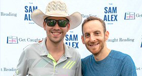 Celebrity Page TV: Radio and TV personality Sam Alex hosted a Celebrity Kickball Game at CMA Fest to promote the #GetCaughtrReading campaign. Pictured with Warner Music Nashville artist William Michael Morgan who donated a book to the cause.