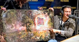 KQRS-FM/Minneapolis: Rock and Roll Hall of Famer and former Journey frontman Steve Perry brought his new album artwork (his first in 24 years) to KQRS in Minneapolis last week. Perry gave his first interview promoting his long-awaited album to Tom Barnard, National Radio Hall of Famer and host of the KQ Morning Show. (Photo credit: RKH Images)