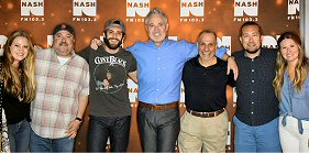 Westwood One: Blair Garner, host of Westwood One syndicated ''The Blair Garner Show,'' presented a private Center Point Road listening party for Thomas Rhett fans who won their way in to the special event at Cumulus WKDF (NASH FM 103.3) last week in Nashville. L-R: Valory's Ashley Sidoti, Chris Palmer, Thomas Rhett, Garner, WKDF's John Shomby, Tyler Reese and Kelley Brock.