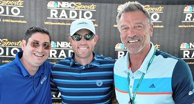 NBC Sports Radio: This past weekend, NBC Sports Radio was on-site broadcasting live from the American Century Championship celebrity golf tournament in Lake Tahoe, NV. The network produced seven national radio shows from the driving range at Edgewood Tahoe Golf course. L-R: Mark Malone and Dan Schwartzman with 49ers kicker Robbie Gould.