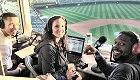 WBBM-FM/Chicago: CBS Radio Chicago hosted live broadcasts from Wrigley Field last Friday on first day of National League Division Series. Five stations hosted live broadcasts, including 670 The Score (WSCR-AM), B96 (WBBM-FM), 93XRT (WXRT-FM), US99 (WUSN-FM) and 104.3 K-HITS (WJMK-FM). Pictured is B96's ''The J Show.'' (Photo Credit: Rachel Kalas)