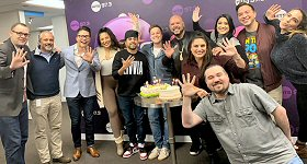 WFLC-FM/Miami: Hits 97.3 turns five years old on January 17 and an All-Star Team photo was taken to commemorate the anniversay. L-R: Format Leader Jeremy Rice, Market General Manager Ralph Renzi, VP/Audience & Content for Radio Tim Clarke, afternoon talent Kimmy B, night jock Al-P, DJ Laz morning producer Bryan Carstensen, DJ Laz, Director Of Operations & Programming Jill Strada, Assistant Director of Branding & Programming/Music Director Dave Hanson, DJ Laz morning co-host Janetzy, afternoon personality Kelbin Ramirez and midday jock Dia Ryan.