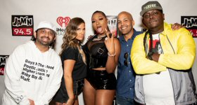 WJMN-FM/Boston: Following the ''Summer Jam,'' Ashlee of Ashlee and the New JAM'N Morning Show sat down with Megan Thee Stallion and discussed Nicki Minaj's retirement announcement. L-R: DJ Pup Dawg, Ashlee, Megan Thee Stallion, Santi and DJ 4eign. (Photo credit: Bethany Anna)