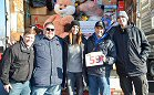 WKST-FM/Pittsburgh: 96.1 KISS FM's Stuff A Bus toy drive fills 59 buses to benefit Toys For Tots. L-R: Region Senior VP David Edgar, WKST morning co-host Bob, WKST APD/afternoon host Tall Cathy, WKST Promotions Director Dan Quindlen and WKST morning co-host Mikey.