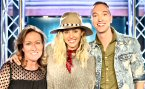 WNEW-FM/New York: Miley Cyrus joined Fresh 102.7 morning co-hosts ''Karen and Jeffrey'' to promote her latest single, ''Malibu'' where she also resides with her two pigs, two horses and seven dogs saying, ''That's not weird in Malibu. I give the pig spa treatments and then I just, like, don't change. I fell the other day in pig poop.. and I went to dinner with my mom right after.'' L-R: Karen Carson, Miley Cyrus and Jeffrey Jameson.
