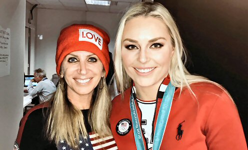 Westwood One: Laura Okmin co-hosted Westwood One's Today in PyeongChang, a nightly two-hour live broadcast that airs each day and providing coverage of the XXIII Olympic Winter Games. Pictured is Okmin with alpine skier Lindsey Vonn, who won a bronze medal in the downhill.