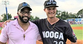 Yea Networks: The Kidd Kraddick Morning Show took the opportunity to spread out across four of their affiliate markets last week for a Thursday Meet-Up with thousands of KiddNation members. Co-host Big Al Mack visited WDOD (Hits 96) in Chattanooga, TN, on August 8, where he was the guest of honor at the Chattanooga Lookouts baseball game. L-R: Big Al Mack and Brantley Bell of the Chattanooga Lookouts.